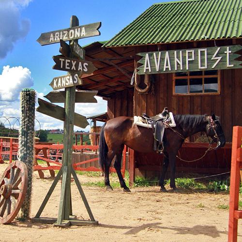 Ранчо, кантри, девушки в ковбойских шляпах в кузове пикапа Ford Ranger, который при повороте руля, сдвигает землю со своей оси!